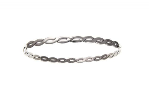 Sterling Silver Solid Twisted Slave Bangle